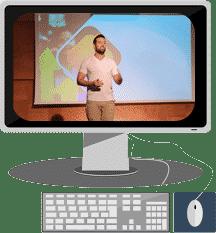 שלו בהרצאה על מסך מחשב